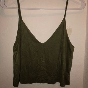 Camo green flowy suede  crop top.